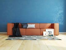 Interno moderno con la rappresentazione del sofà 3d Fotografie Stock Libere da Diritti