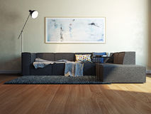 Interno moderno con la rappresentazione del sofà 3d Fotografia Stock Libera da Diritti