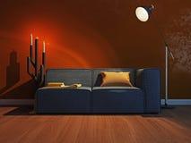 Interno moderno con la rappresentazione del sofà 3d Immagini Stock Libere da Diritti