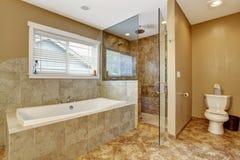 Interno moderno del bagno con la doccia di vetro della porta Immagini Stock Libere da Diritti