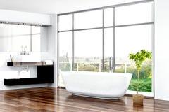 Interno moderno del bagno con la vasca contro la finestra Fotografia Stock Libera da Diritti
