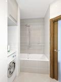 Interno moderno del bagno con le mattonelle bianche, beige e grige Fotografia Stock