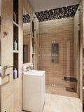 Interno moderno del bagno con le mattonelle di marmo beige e marroni Immagini Stock Libere da Diritti