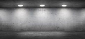 Interno moderno del garage della sala d'esposizione vuota del muro di cemento con il pavimento fotografia stock