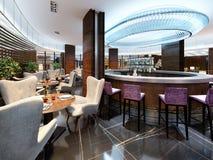 Interno moderno del ristorante accogliente della barra Progettazione contemporanea nella t illustrazione vettoriale