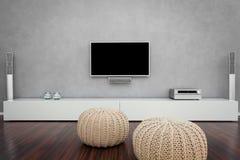 Salone moderno con la TV Immagini Stock Libere da Diritti