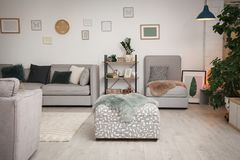 Interno moderno del salone con il sofà comodo Immagine Stock