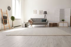 Interno moderno del salone con il sofà comodo fotografia stock libera da diritti