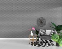 Interno moderno del salone con la decorazione della poltrona e piante verdi sul fondo grigio della parete di struttura delle matt royalty illustrazione gratis