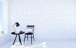 Interno moderno del salone del mattone bianco con spazio vitale, finestra vicina della stanza della mobilia nera royalty illustrazione gratis
