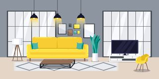 Interno moderno del salone, illustrazione piana di vettore Concetto di progetto accogliente dell'appartamento royalty illustrazione gratis