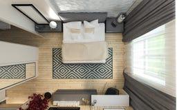 Interno moderno del sottotetto della camera da letto Immagine Stock Libera da Diritti
