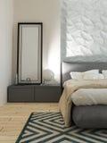 Interno moderno del sottotetto della camera da letto Fotografia Stock Libera da Diritti