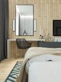 Interno moderno del sottotetto della camera da letto Fotografie Stock Libere da Diritti