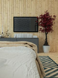 Interno moderno del sottotetto della camera da letto Fotografie Stock