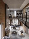 Interno moderno del sottotetto progettato come appartamento moderno di piano aperto Piano aperto compreso la cucina, sala da pran royalty illustrazione gratis