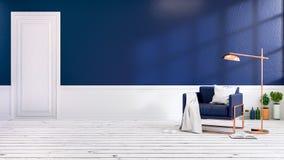 Interno moderno del sottotetto del salone con le poltrone blu sulla pavimentazione bianca e sulla parete blu scuro stanza vuota,  illustrazione di stock