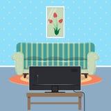 Interno moderno dell'appartamento con il sofà ed il set televisivo royalty illustrazione gratis