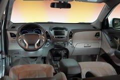 Interno moderno dell'automobile Fotografie Stock