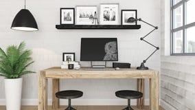 interno moderno dell'ufficio 3D Fotografie Stock