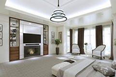 Interno moderno della camera da letto con grande Windows Fotografia Stock