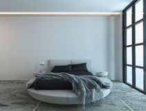 Interno moderno della camera da letto con la finestra enorme Fotografie Stock