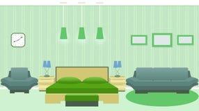 Interno moderno della camera da letto con mobilia compreso il letto, poltrona, sofà, photoframes sulla parete illustrazione vettoriale