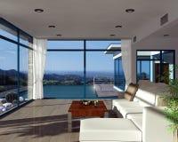 Interno moderno della casa con la bella vista Immagini Stock Libere da Diritti