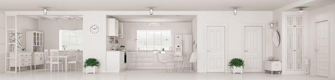 Interno moderno della rappresentazione bianca di panorama 3d dell'appartamento Immagine Stock