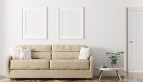 Interno moderno della rappresentazione del salone 3d illustrazione di stock