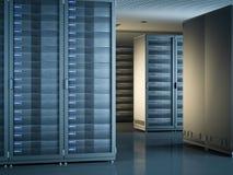 Interno moderno della stanza del server rappresentazione 3d Immagine Stock Libera da Diritti