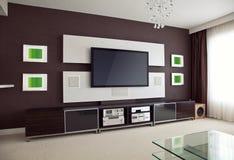 Interno moderno della stanza del teatro domestico con lo schermo piano TV Fotografie Stock Libere da Diritti