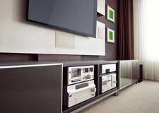 Interno moderno della stanza del teatro domestico con lo schermo piano TV immagine stock libera da diritti
