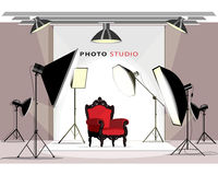 Interno moderno dello studio della foto con materiale di illuminazione e la poltrona Stile piano illustrazione vettoriale