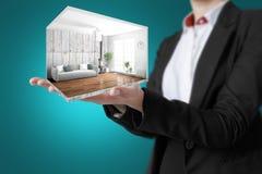 Interno moderno di concetto rappresentazione 3d Fotografia Stock