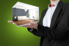 Interno moderno di concetto rappresentazione 3d Immagine Stock