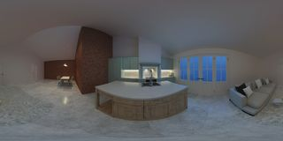 Interno moderno di una casa di campagna Illuminazione di sera Panorama 360 Immagine Stock