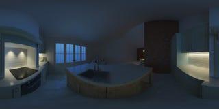 Interno moderno di una casa di campagna Illuminazione di sera Panorama 360 Fotografie Stock