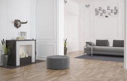 Interno moderno minimalista del salone Fotografia Stock