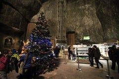 Interno nelle miniere di sale in Wieliczka al Natale Immagini Stock