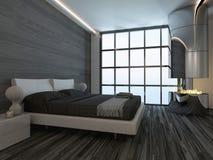 Interno nero della camera da letto di stile con il camino Fotografie Stock