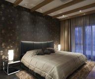 Interno per una camera da letto, un letto Immagine Stock Libera da Diritti