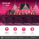 Interno piano di stile della barra del cocktail Immagini Stock Libere da Diritti