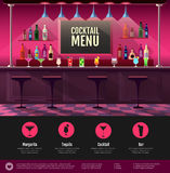 Interno piano di stile della barra del cocktail Immagine Stock