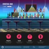 Interno piano di stile della barra del cocktail Fotografia Stock Libera da Diritti