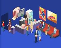 Interno piano isometrico 3D del corridoio aspettante del cinema caffè del cinema Immagine Stock