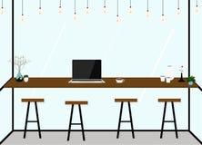 Interno piano moderno della caffetteria di progettazione Lavoro in caffè Illustrazione di vettore Fotografie Stock