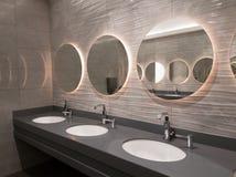 Interno pubblico moderno della toilette Immagini Stock Libere da Diritti
