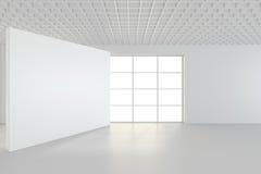 Interno pulito bianco con il manifesto bianco in bianco Fotografia Stock