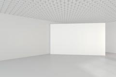 Interno pulito bianco con il tabellone per le affissioni in bianco rappresentazione 3d Fotografia Stock Libera da Diritti